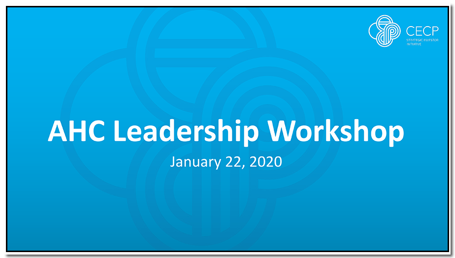 Daryl Brewster presentation at AHC Group January 2020 workshop