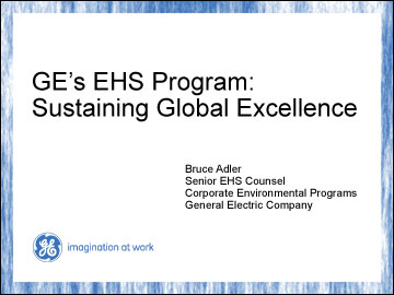 GE's EHS Program: Sustaining Global Excellence